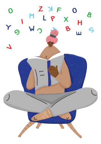 An illustration of a girl reading a book with different letters floating above her head