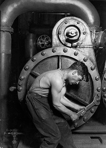 Lewis Hine's 1920 Power House Mechanic Working on Steam Pump