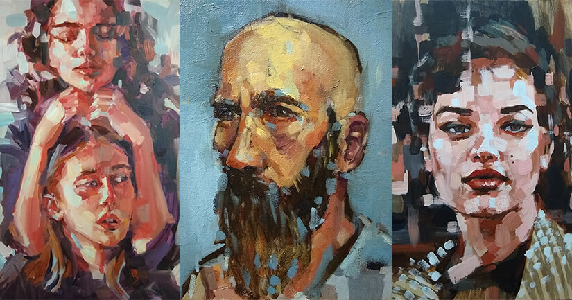 Oil paintings of a diverse set of individuals
