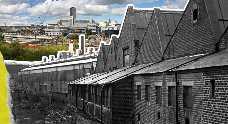 A photograph of Sheffield City Centre skyline compared to a closed-down factory in Sheffield in the early 1980s.
