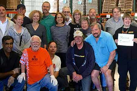 Northern Nevada Mensans volunteer at a food bank