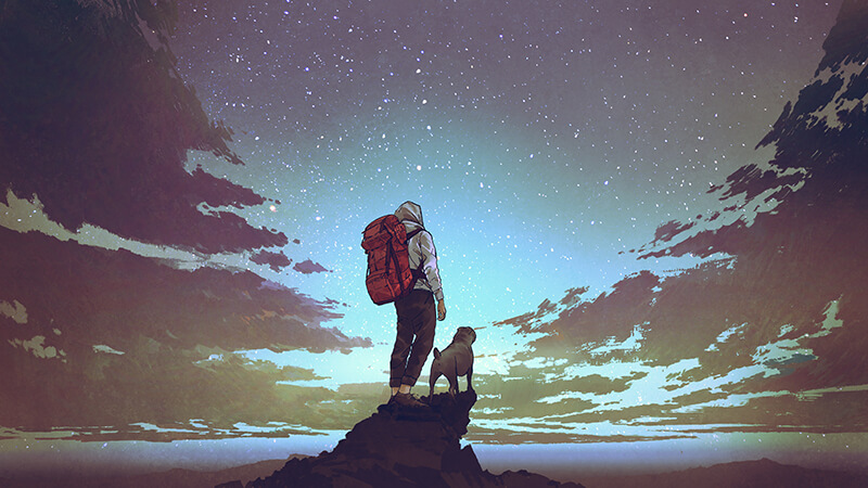 Illustration: A hiker, wearing a hikinkg pants, a grey sweatshirt, and a red rucksack stands atop a rock outcropping with their dog. The two are staring into the night sky.