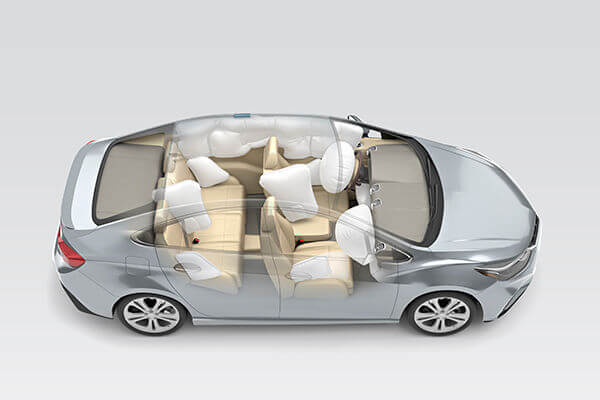 3-D view of car airbag deployment