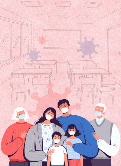 Illustration: A family wearing masks
