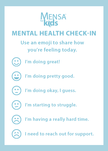 Mental health check-in chart