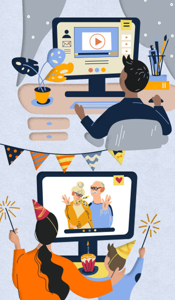 Illustration: A family celebrates a birthday via video chat