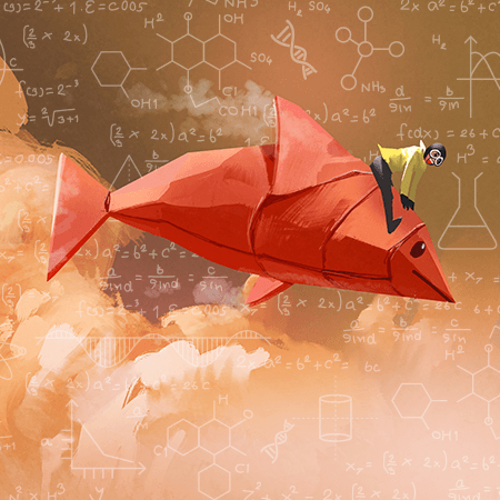 Illustration: A old-timey pilot atop a fish-shaped paper airplanes breaks through the clouds. In the background, mathematical equasions.